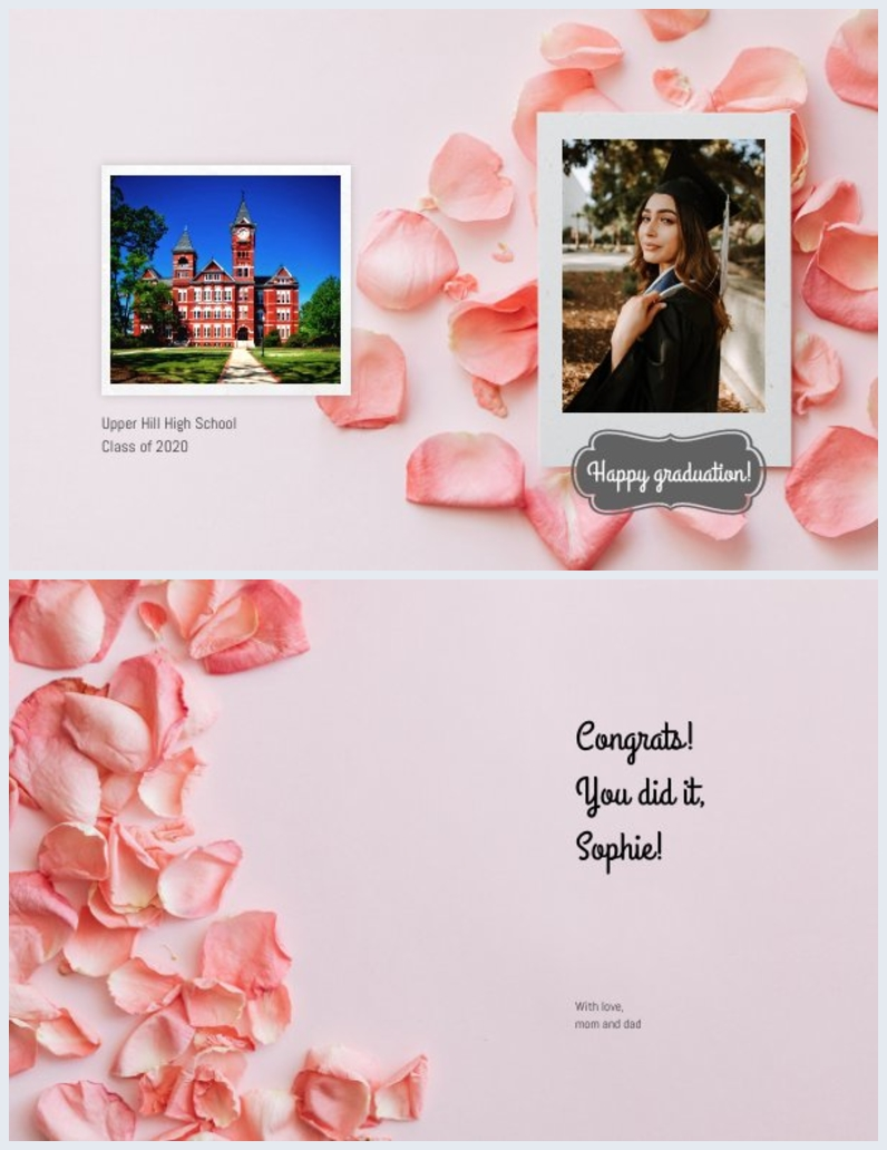 pink greeting card design for girl