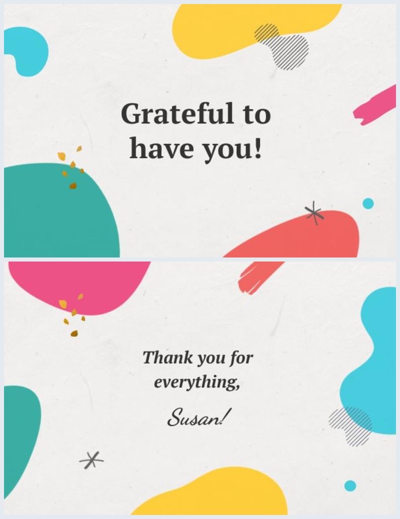 Design de carte de remerciement coloré