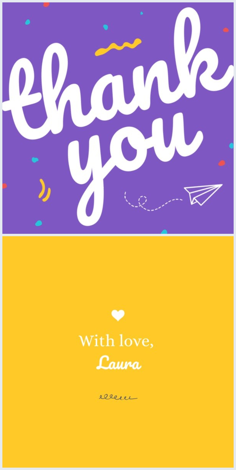 Thank You Card Design in Purple and Yellow