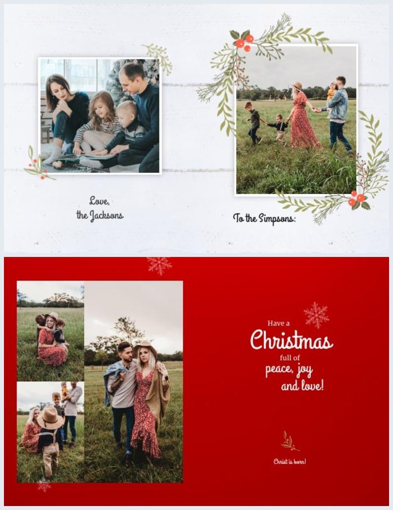 Diseño de tarjeta de Navidad plegable para la familia