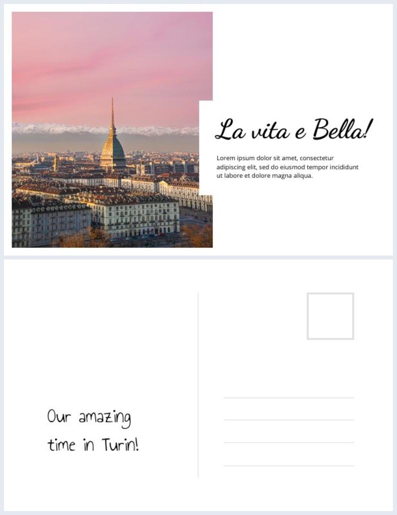 Grafica per cartolina 4x6 dell'Italia