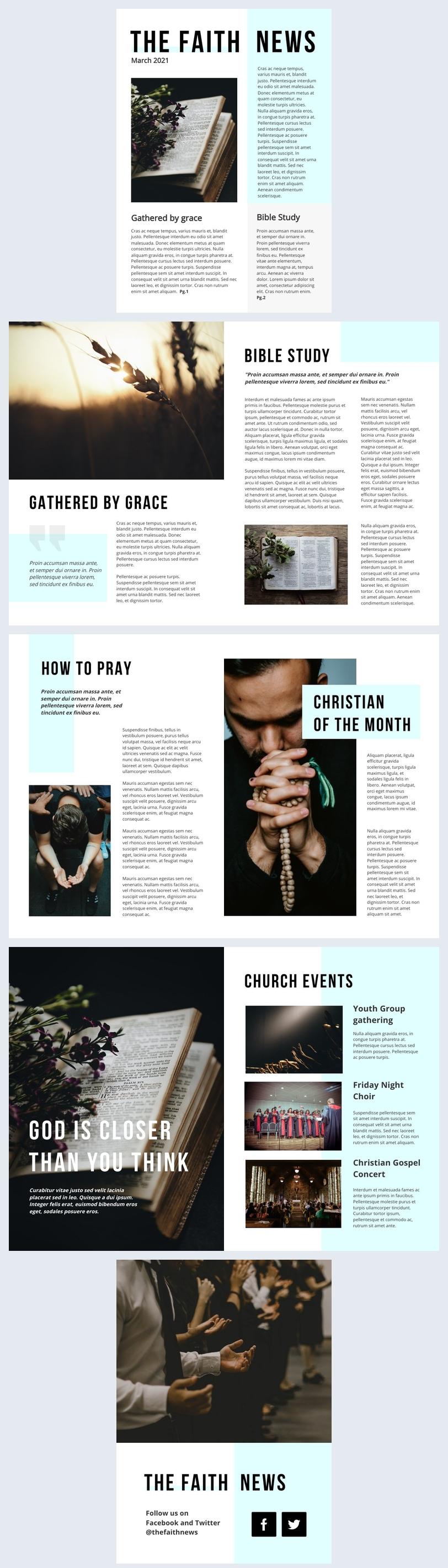 Religious Newsletter Design Example