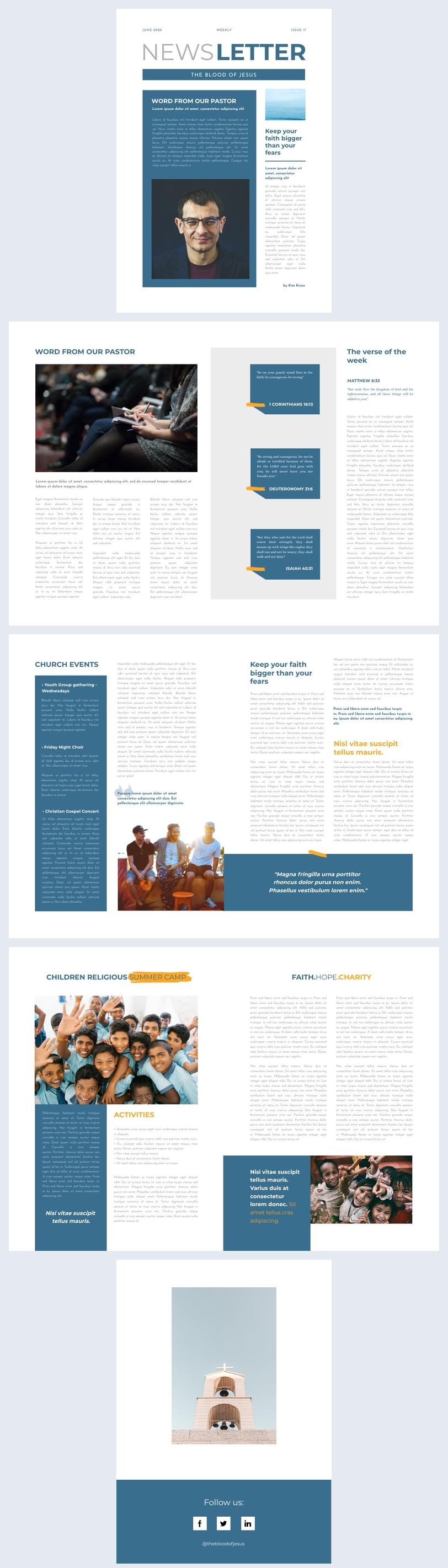 Idée de design de newsletter chrétienne