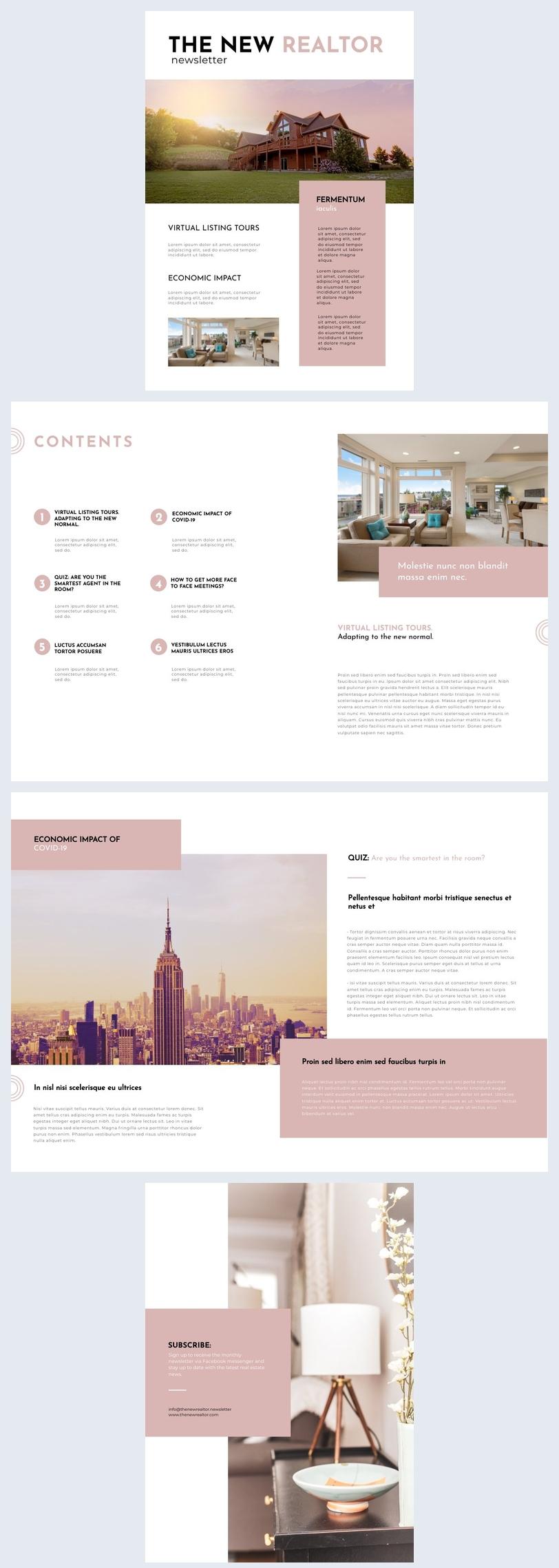 Exemple de design de newsletter d'agent immobilier mensuelle