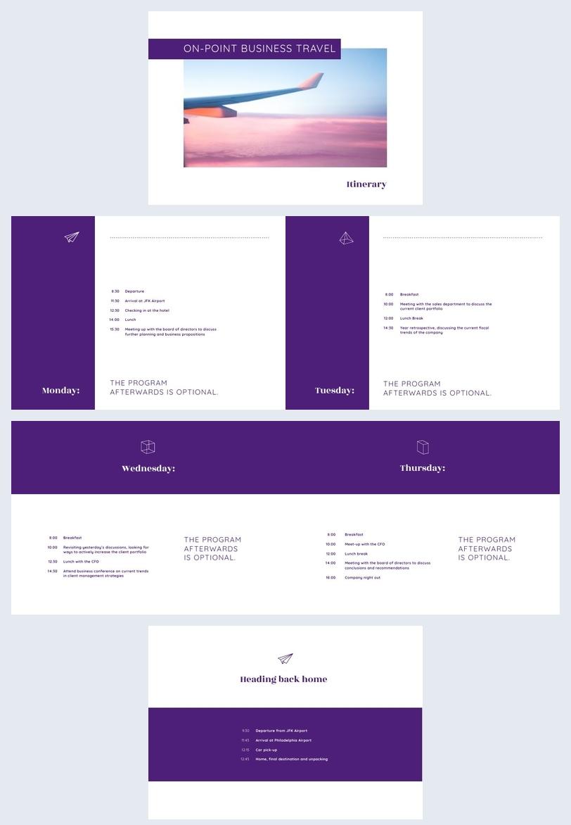 Idea de diseño para itinerario de viaje de negocios