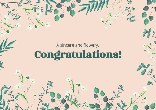 Floral Congratulations Card Template