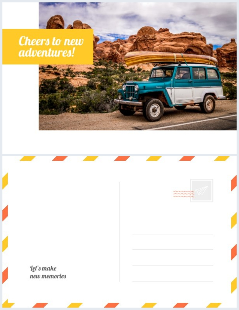 Ejemplo de diseño para tarjeta postal de aventuras
