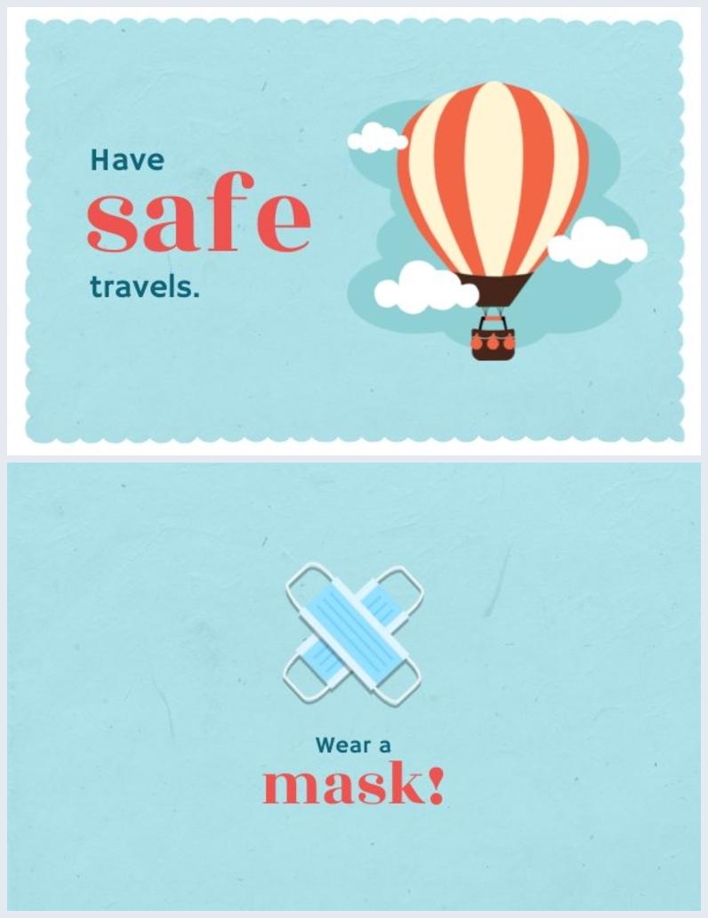 Idea de diseño para tarjeta de Viaje seguro por el COVID-19