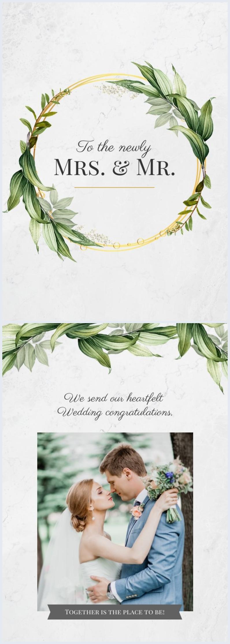 Idea de diseño para tarjeta de felicitaciones de boda