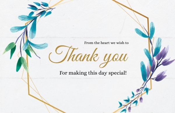 Wedding Thank You Note Design Idea