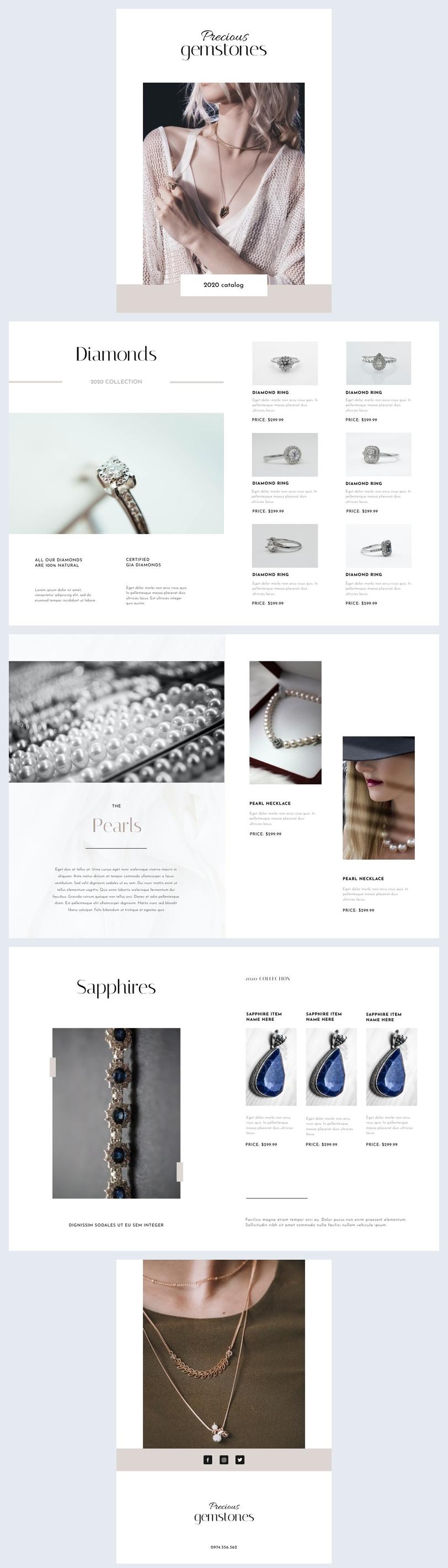 Apariencia de catálogo para diseños de joyería