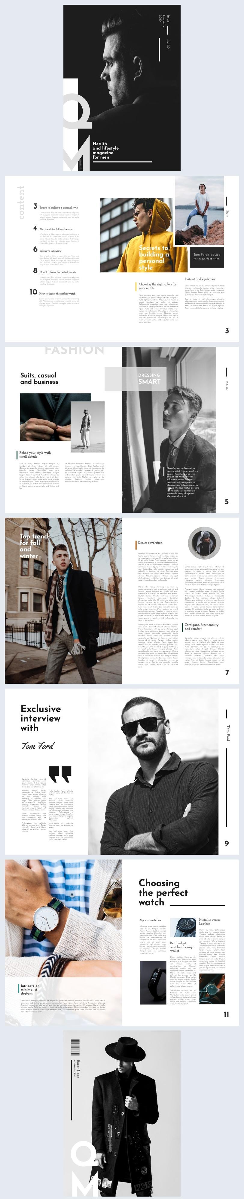 Idea di layout per rivista di lifestyle