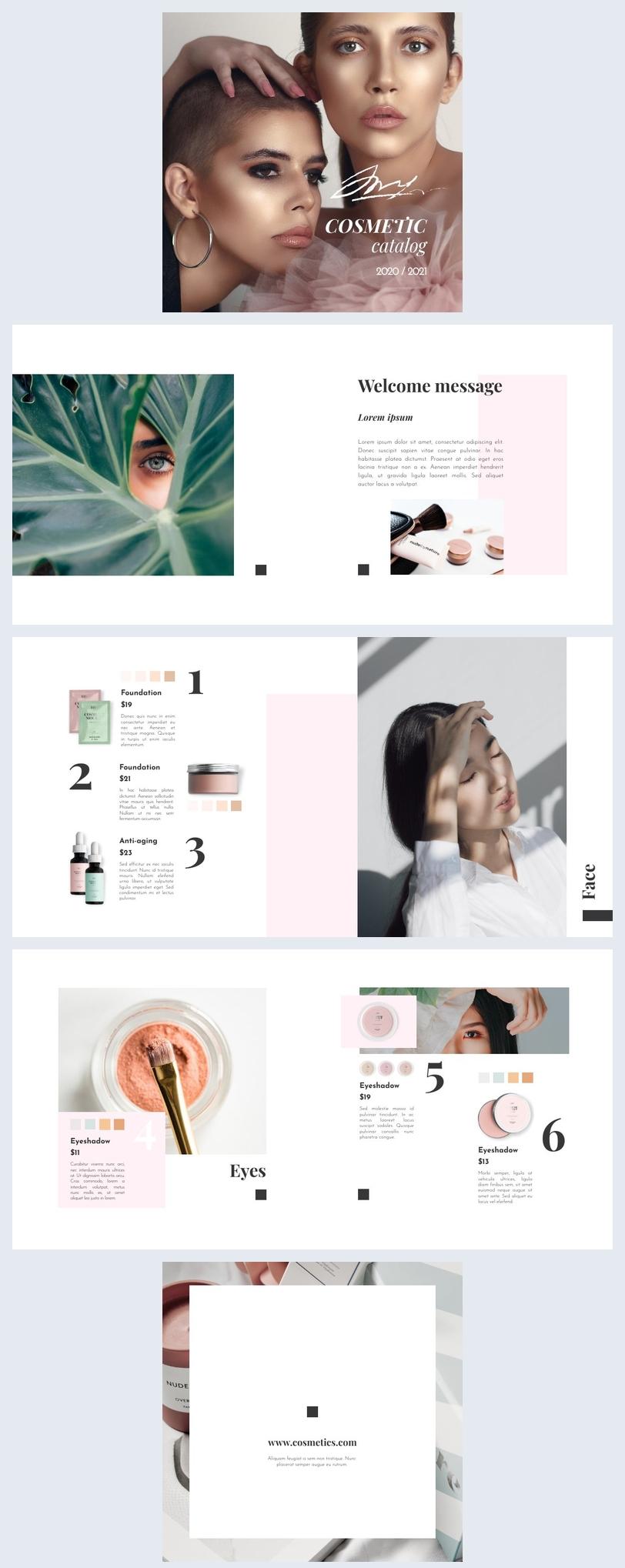 Layout grafico per catalogo di prodotti cosmetici