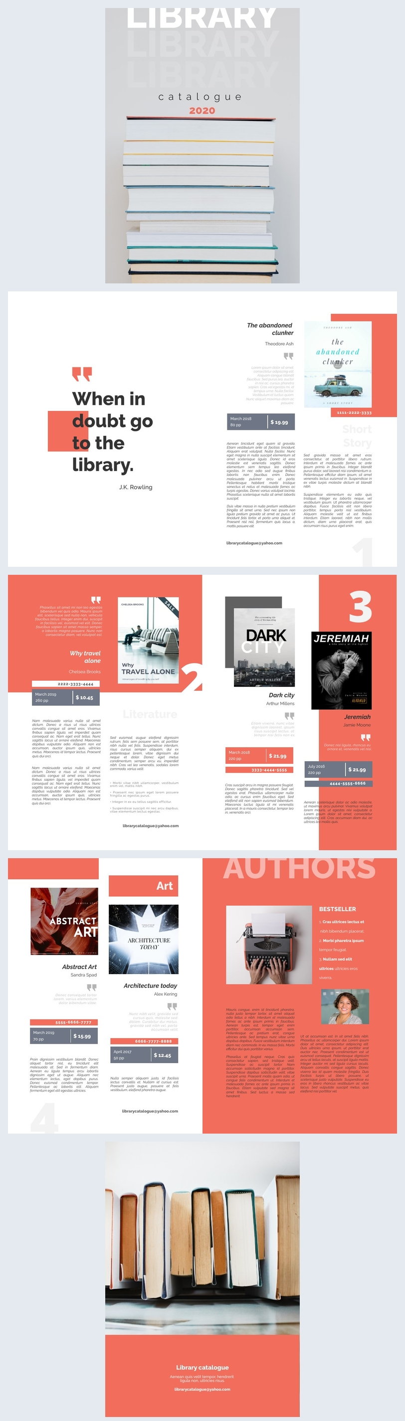 Ejemplo de diseño moderno para catálogo de biblioteca