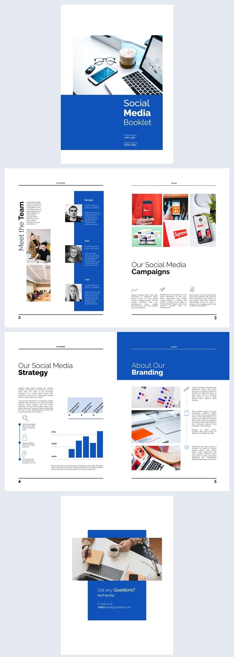 Inspiração para Design de Livreto de Rede Social de 6 Páginas