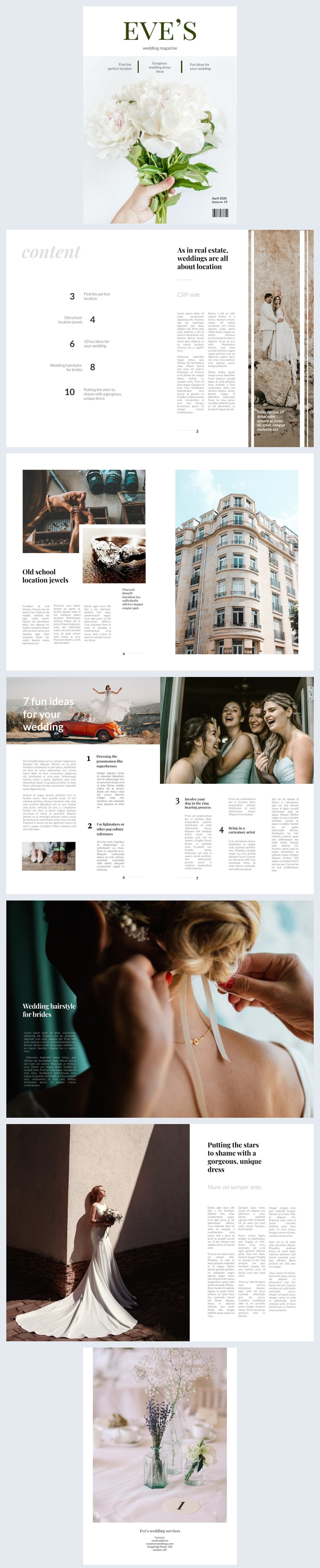 Editable Wedding Magazine Design Layout