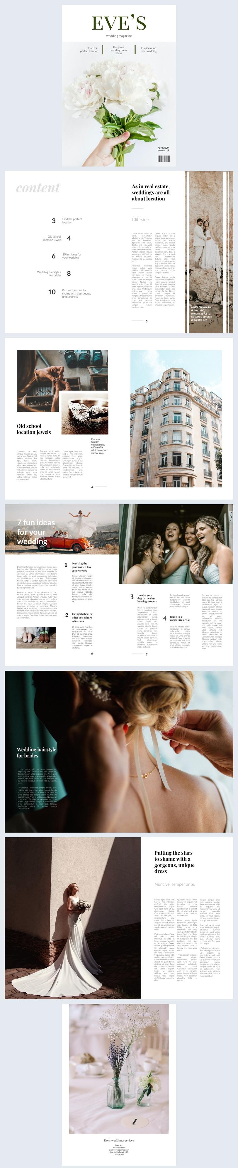 Layout de Design de Revista de Casamento Editável