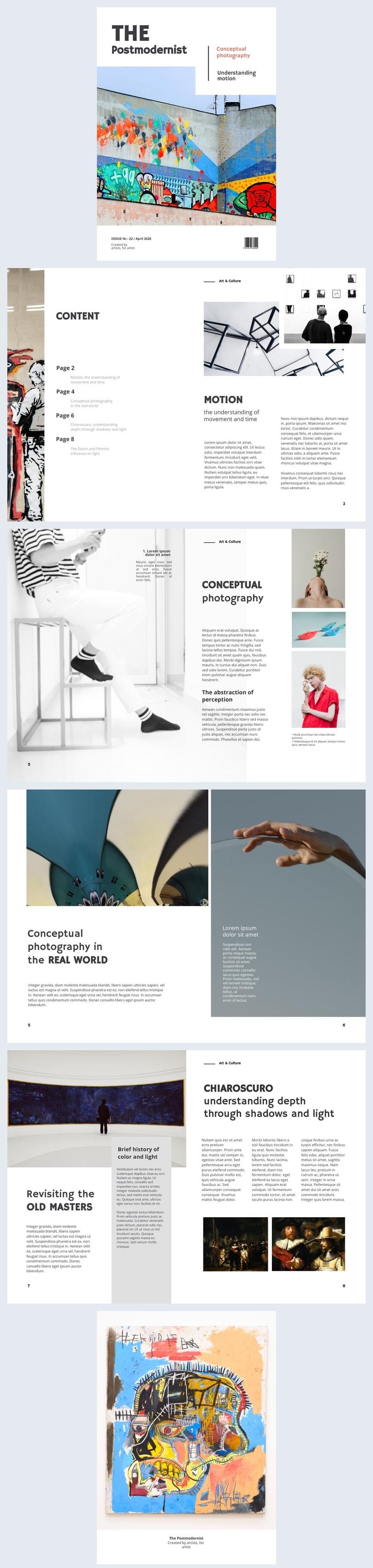 Kunstmagazin Layout-Design-Idee