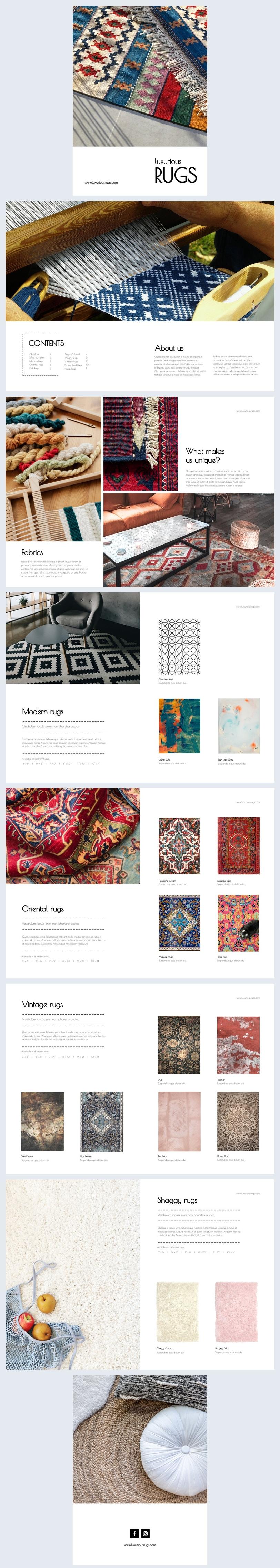 Ejemplo de diseño para catálogo de productos de lujo