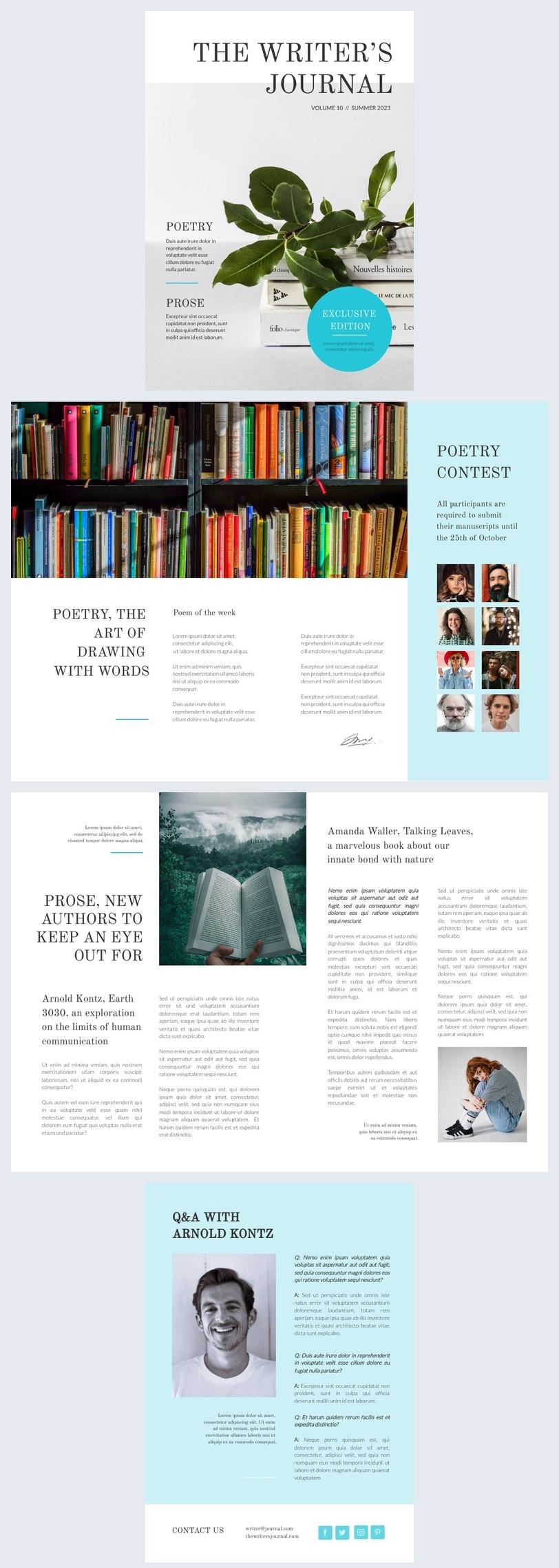 Layout de Design de Revista Literária