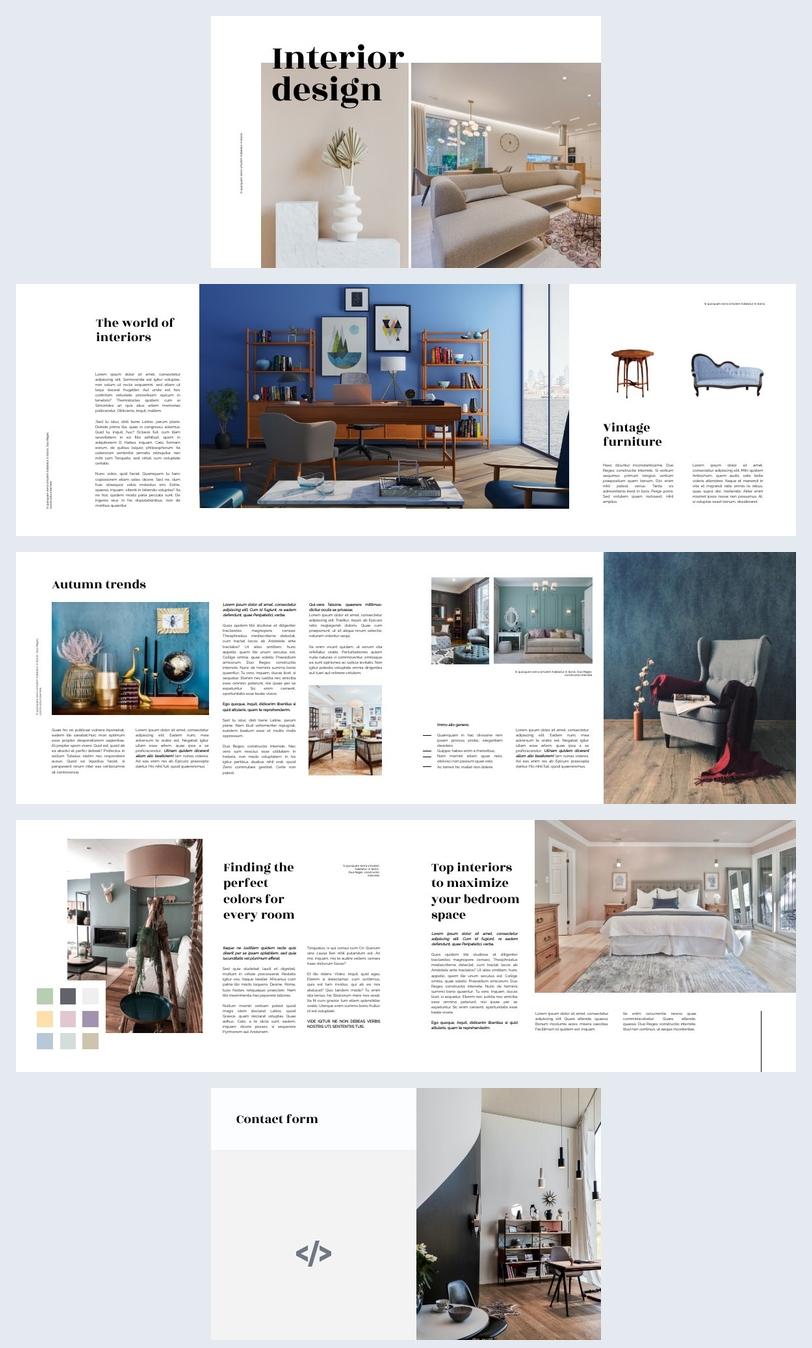 Ejemplo de apariencia para revista de Diseño de interiores