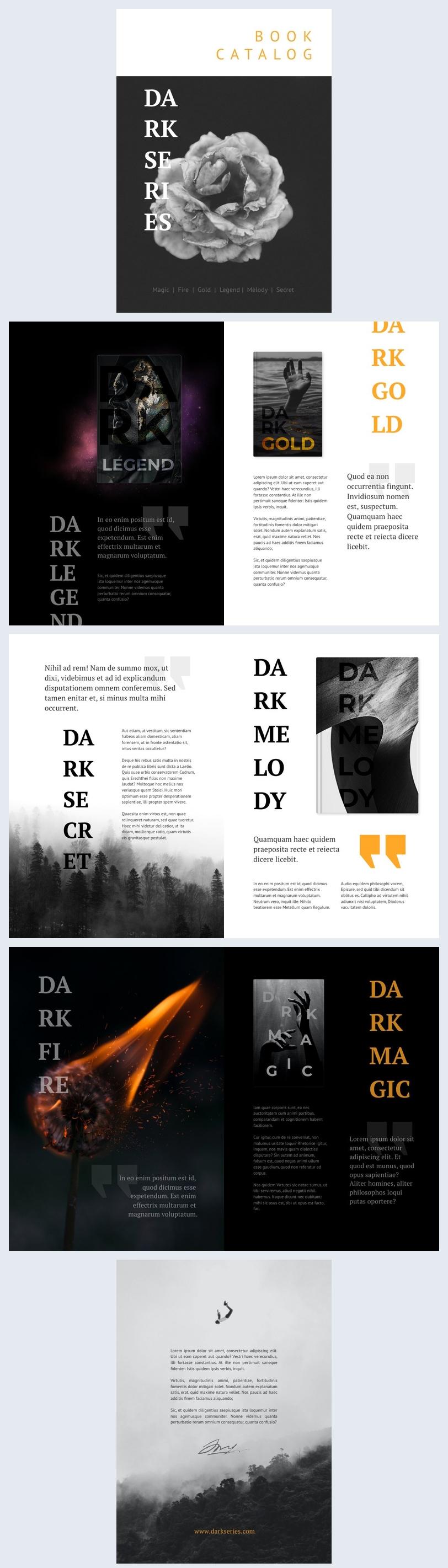 Exemple et design de catalogue de livres modifiables