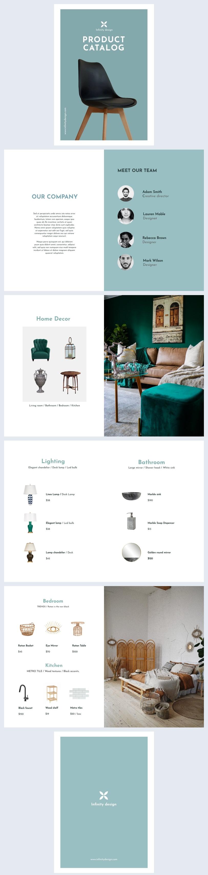 Ejemplo de idea de diseño para catálogo de productos