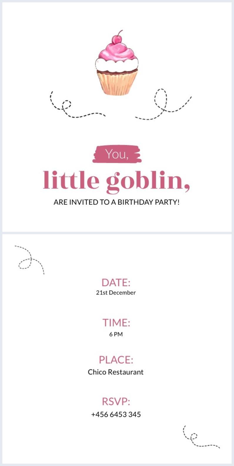 Exemplo de Design de Convite de Festa Infantil