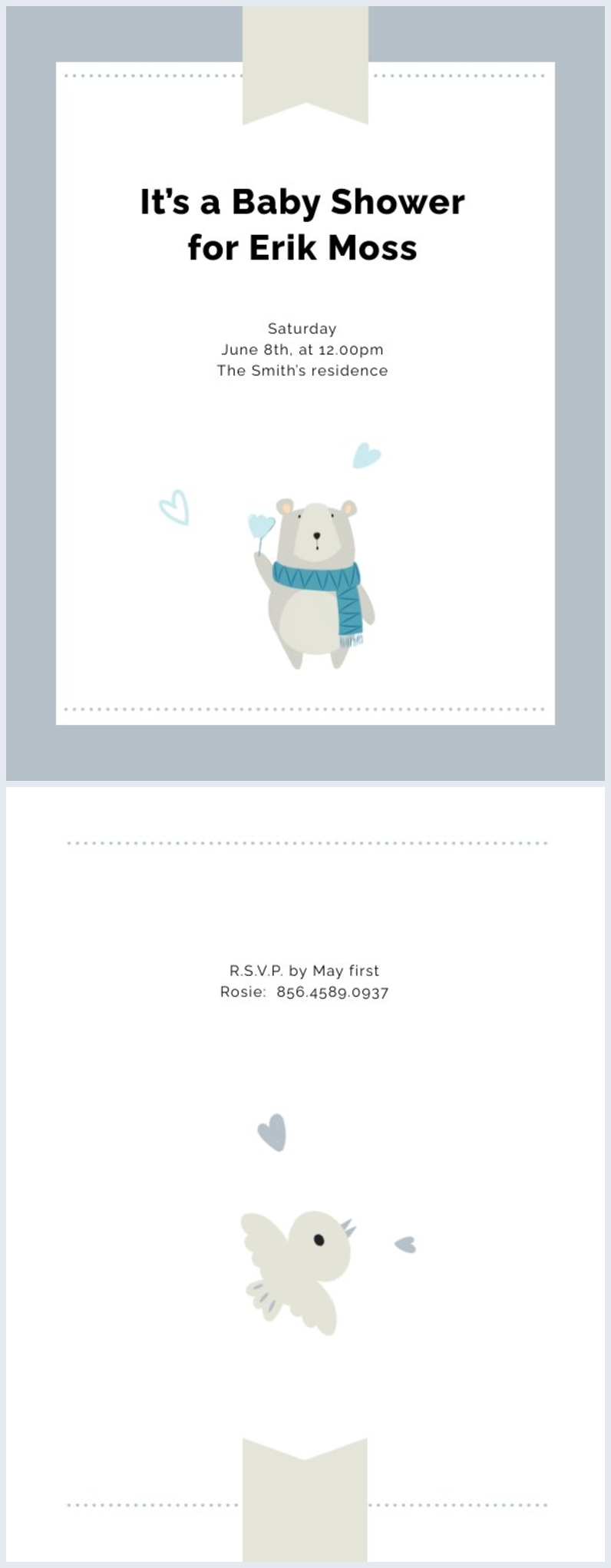 Exemple de mise en page d'invitation de baby shower