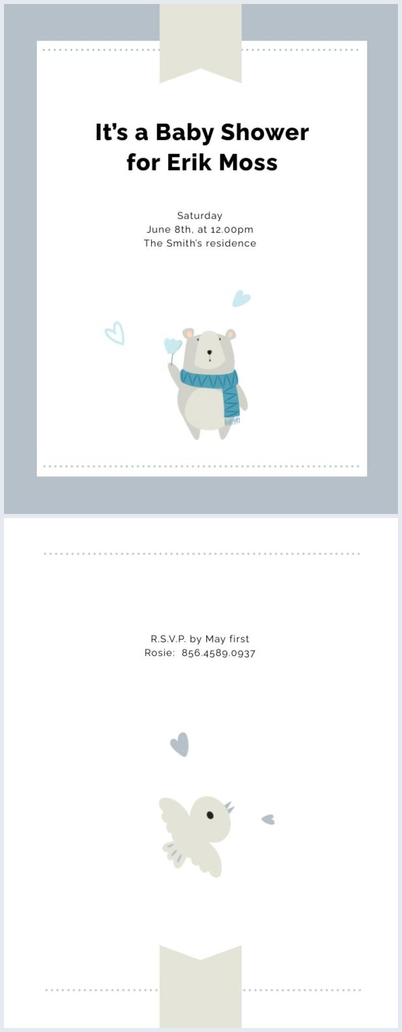 Ejemplo de diseño para invitación a fiesta de regalos para el bebé