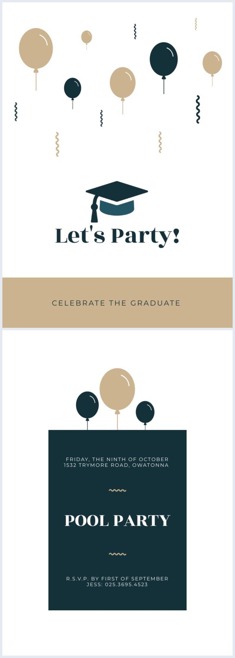 Ejemplo de diseño de plantilla para invitación a fiesta de graduación