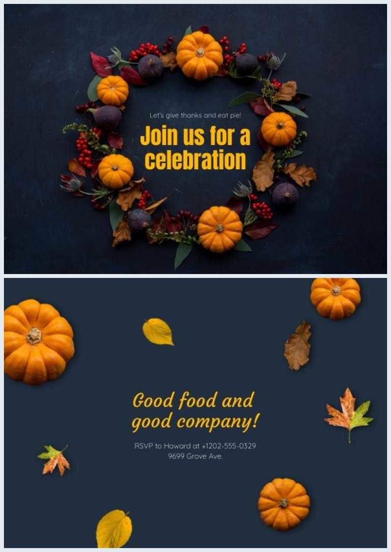 Design-Idee einer Tischkarte für Thanksgiving