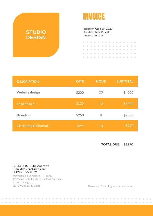 Invoice Design Layout Idea