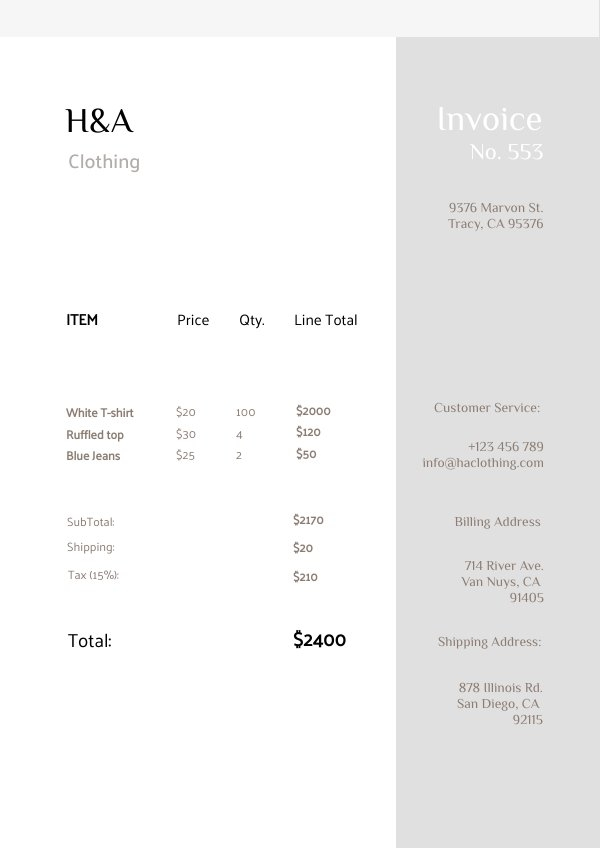 Simple Invoice Design Layout