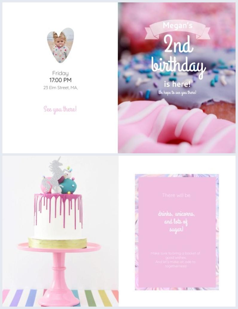 Mise en page et design d'invitation d'anniversaire