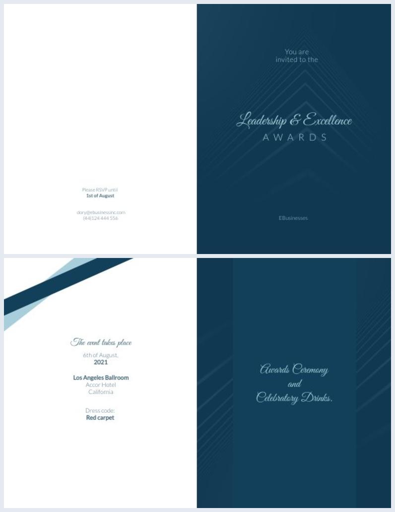 Mise en page et design d'invitation de cérémonie de remise des prix