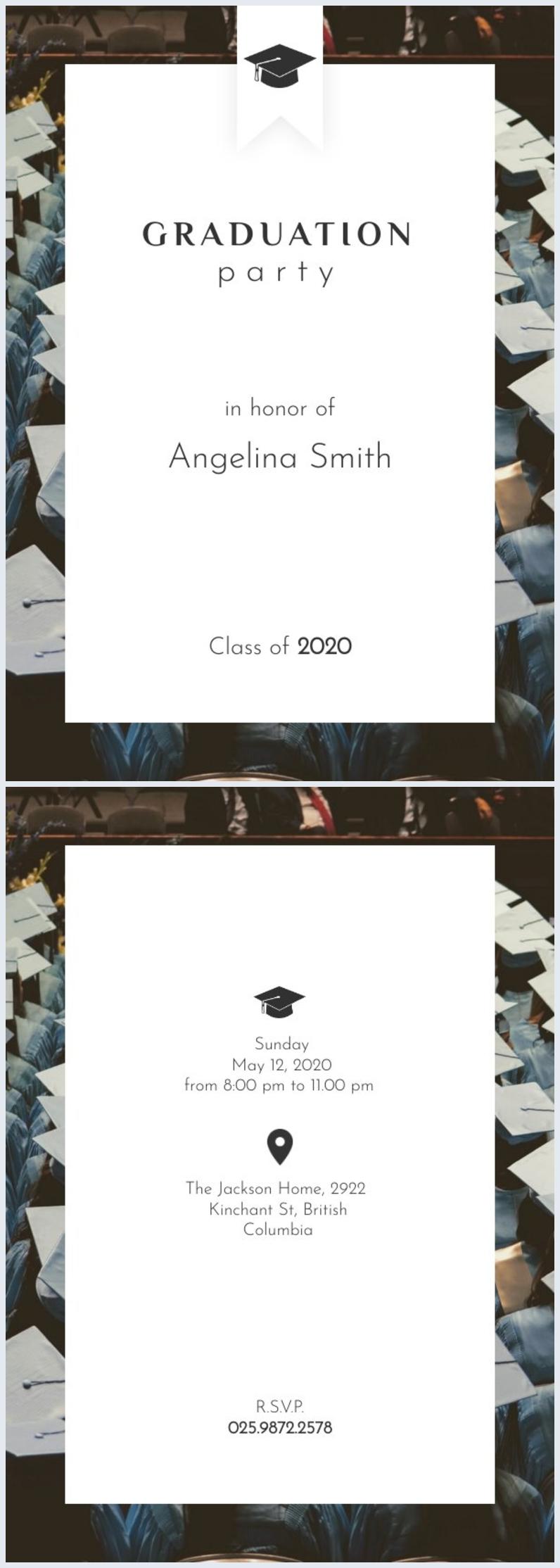 Modèle d'invitation de fête de remise des diplômes personnalisable
