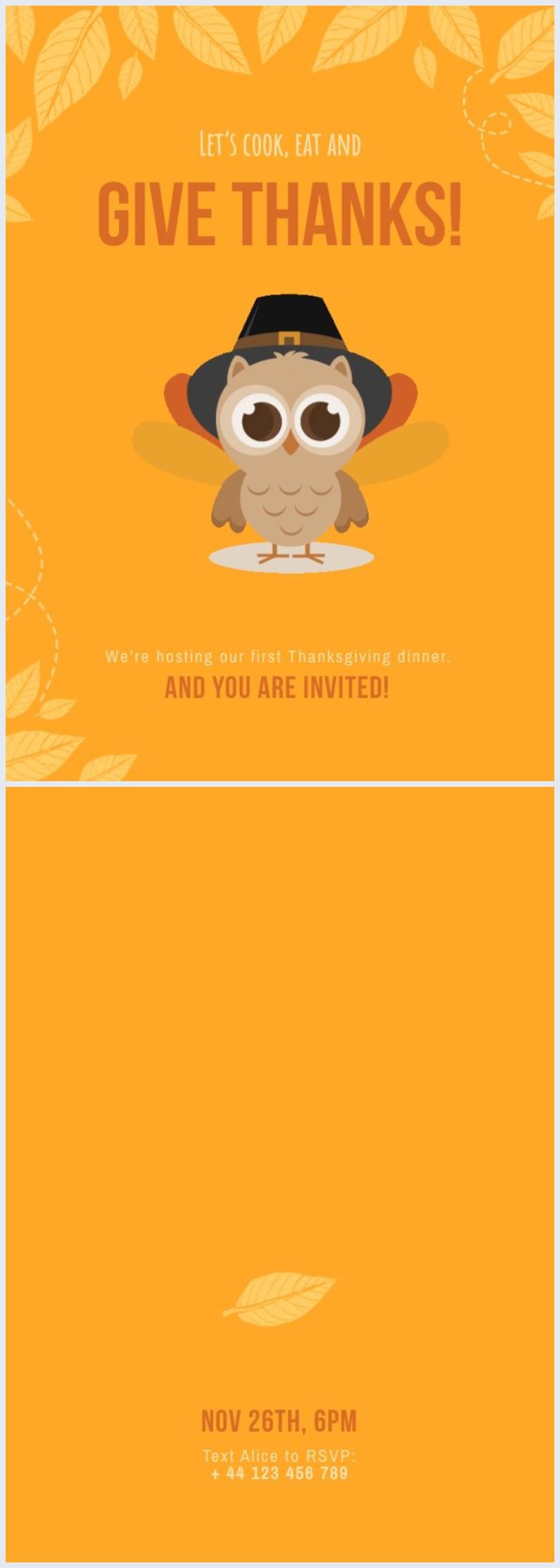 Exemple de design d'invitation de Thanksgiving gratuit