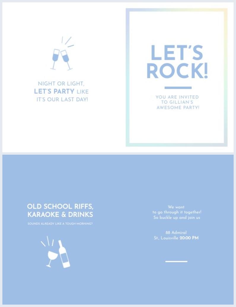 Ejemplo de tarjeta plegable para invitación de fiestas