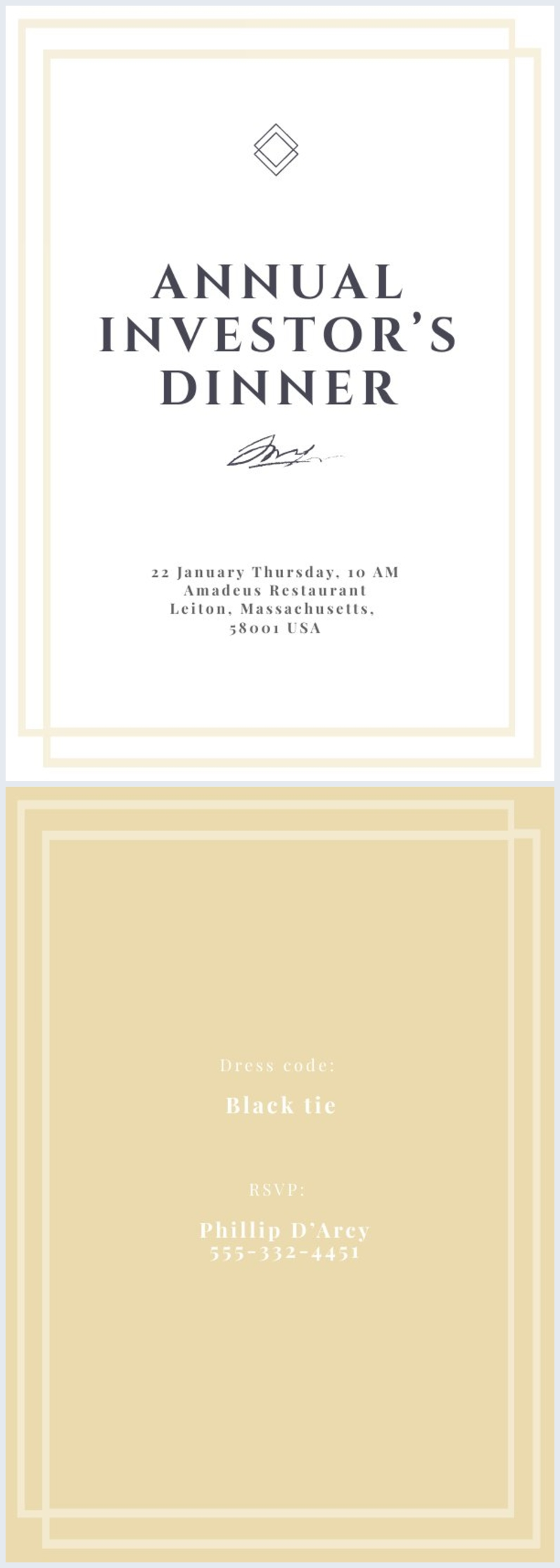 Geschäftsessen-Einladungs-Design-Idee