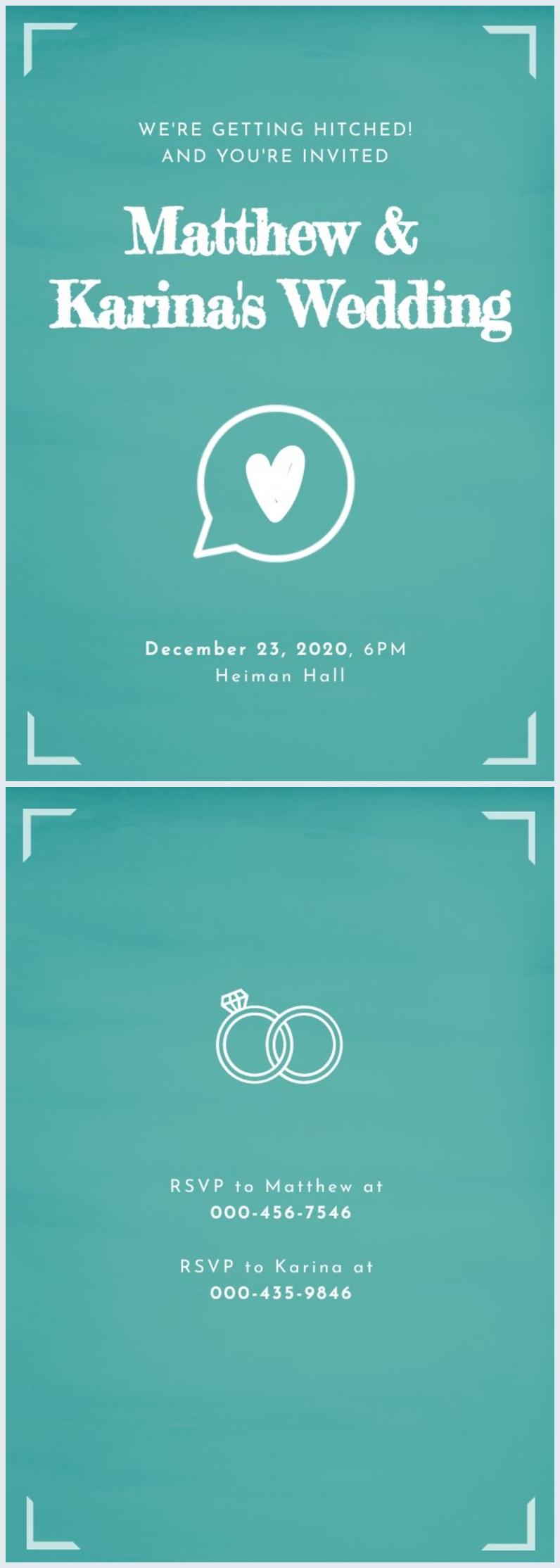 Exemple et design d'invitation de mariage Whatsapp