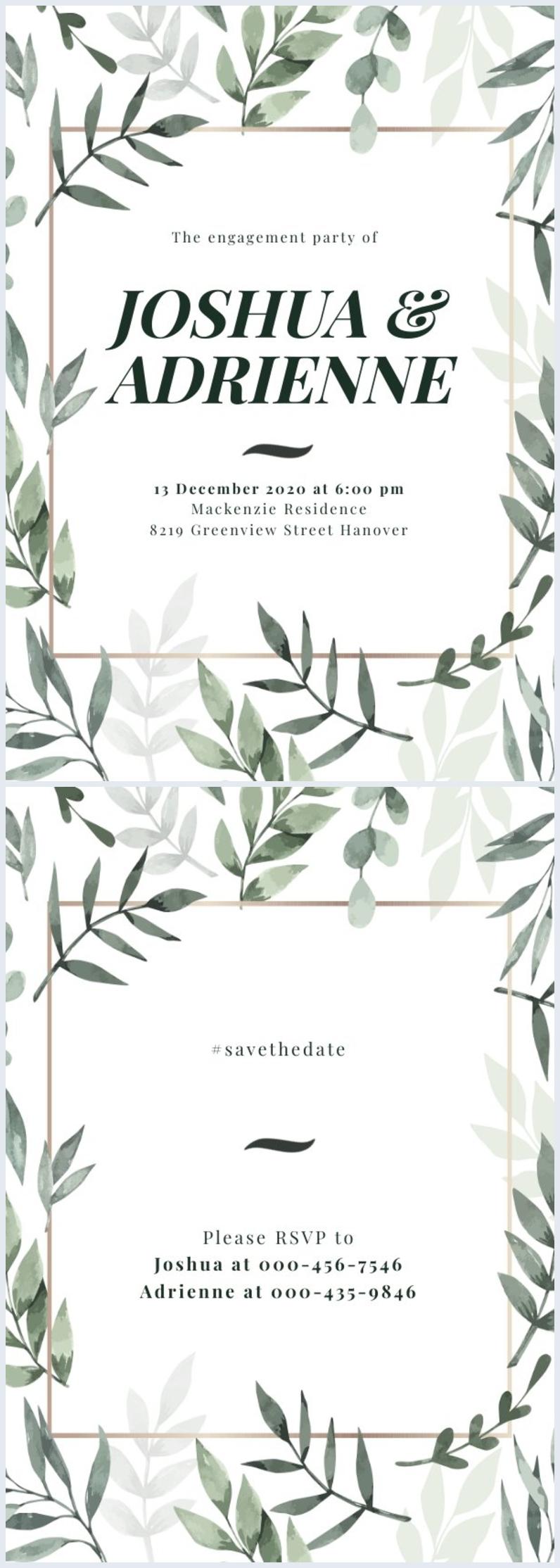 Free Engagement Invitation Card Design