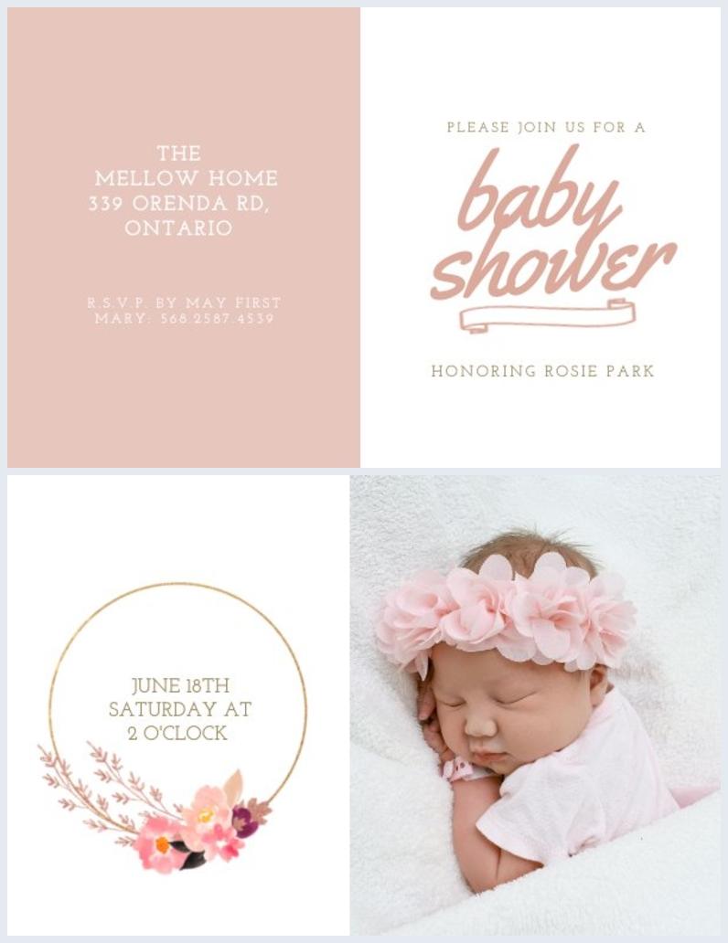 Exemplo de Design de E-Convite de Chá de Bebê
