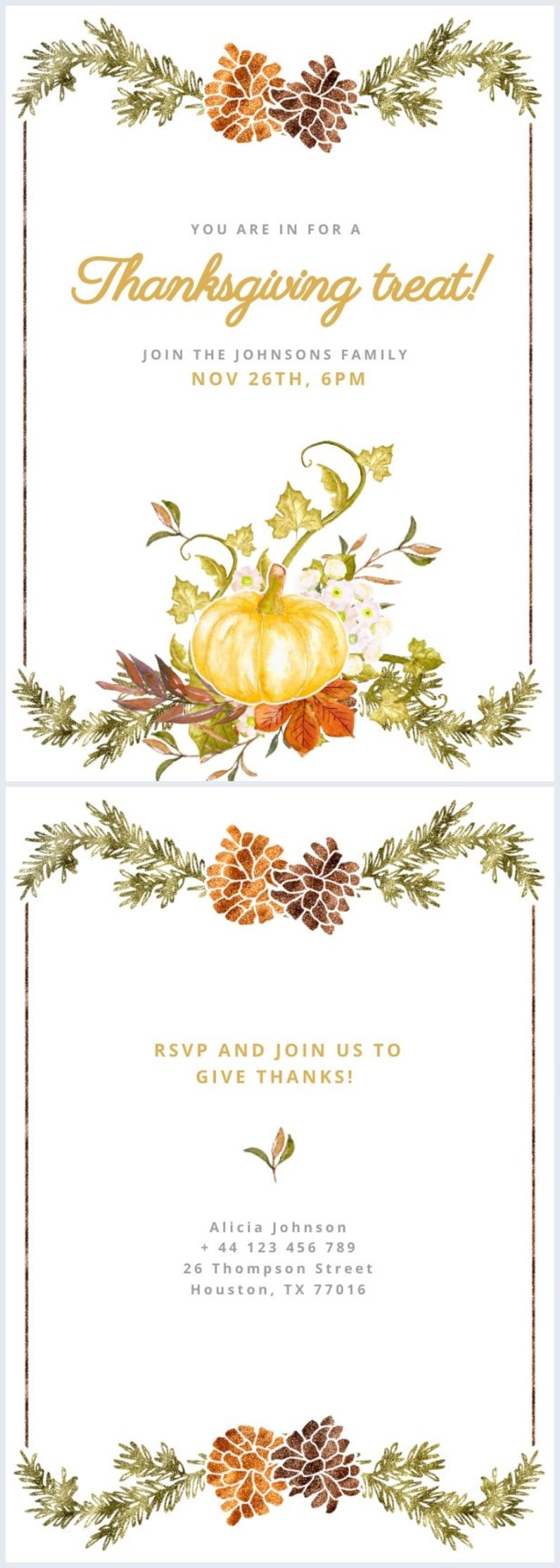 Ejemplo de diseño para invitación de Acción de Gracias