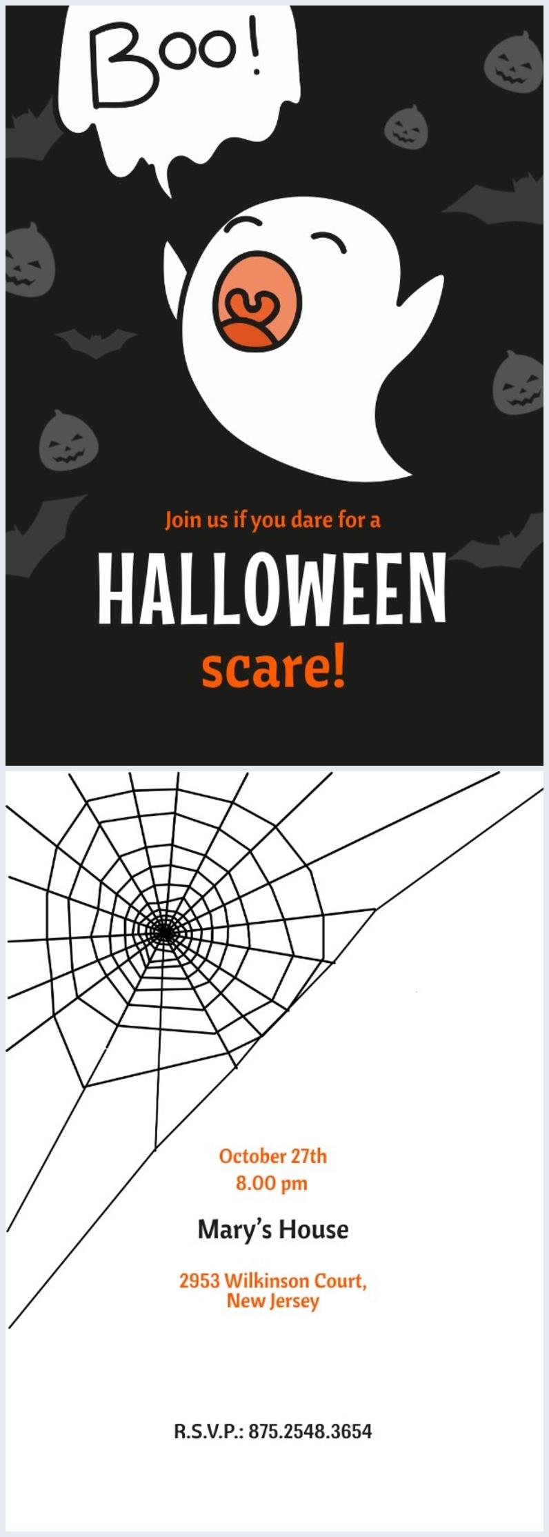 Ejemplo de diseño para invitación a fiesta de Halloween