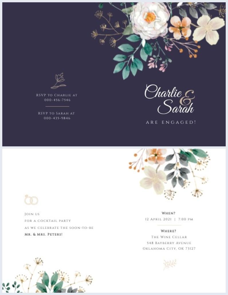 Diseño para invitación plegable a la fiesta de compromiso