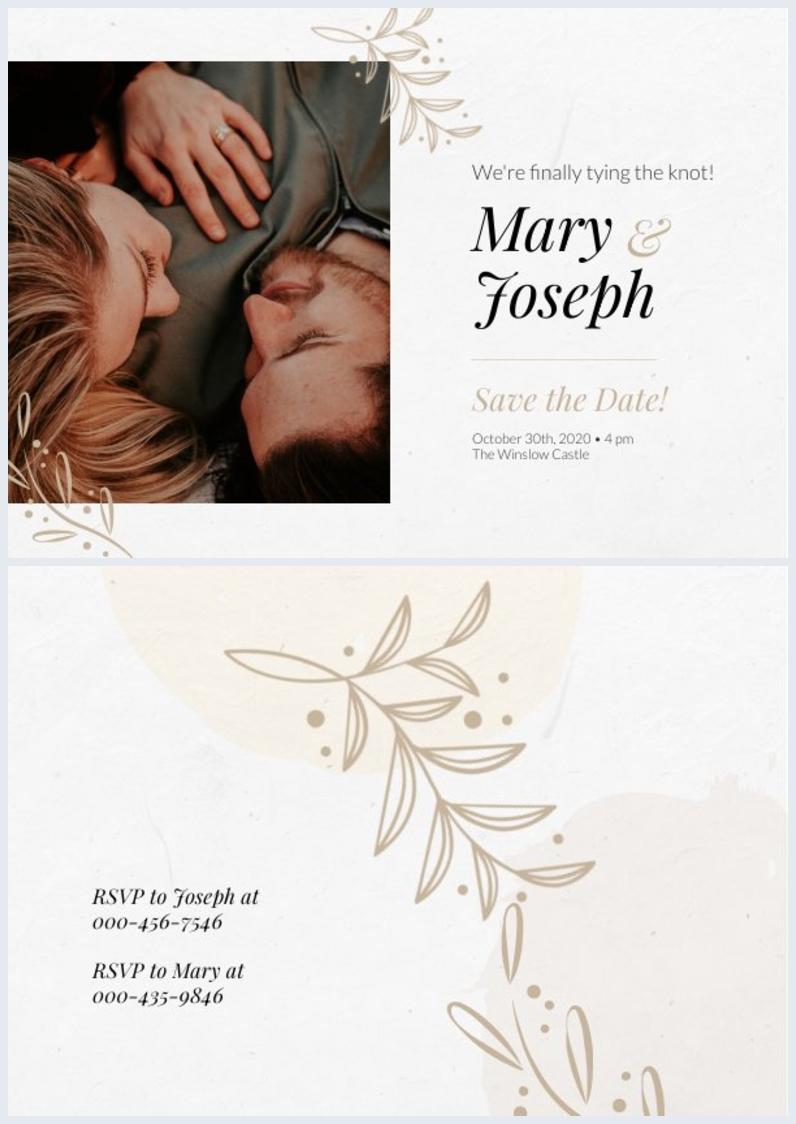 Huwelijk Uitnodiging Ontwerp Lay-out Voorbeeld