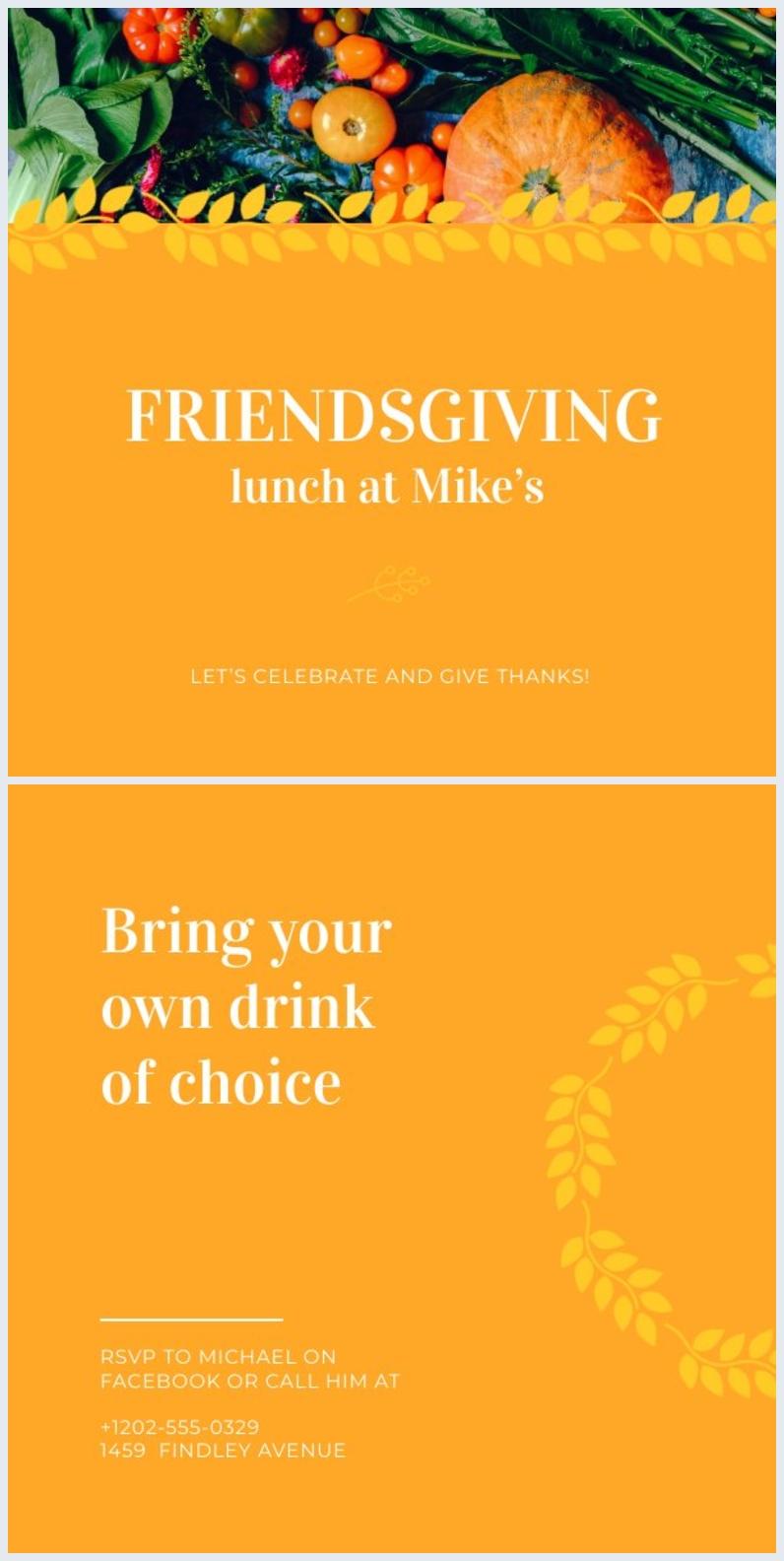 Idea grafica gratuita per invito online del Giorno del Ringraziamento