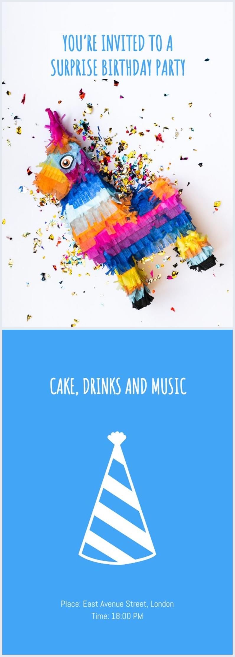 Esempio grafico per invito online di compleanno