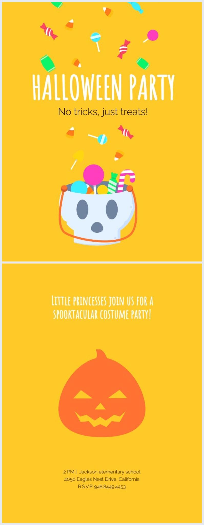 Grafica per invito alla festa di Halloween per bambini